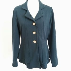 Lilla P Teal Layered Knit Blazer Cardigan NWT